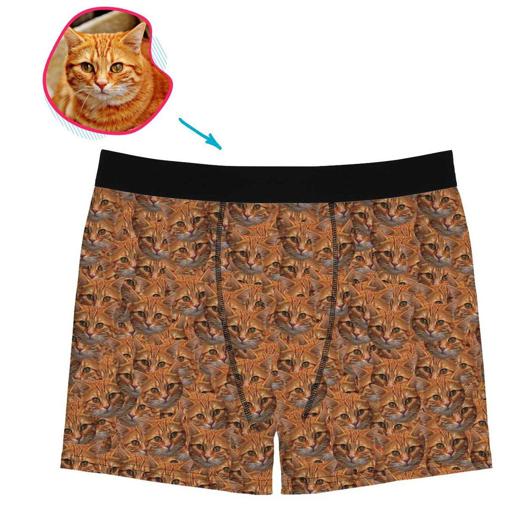 cat mash men's boxers personalized with photo of face printed on it