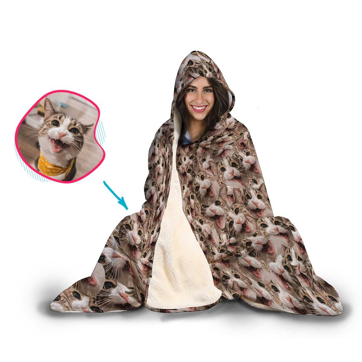 Cat Mash Personalized Hooded Blanket