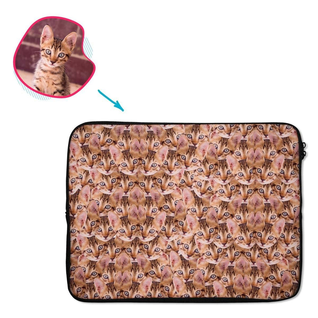 Cat Mash laptop sleeve personalized with photo of face printed on them