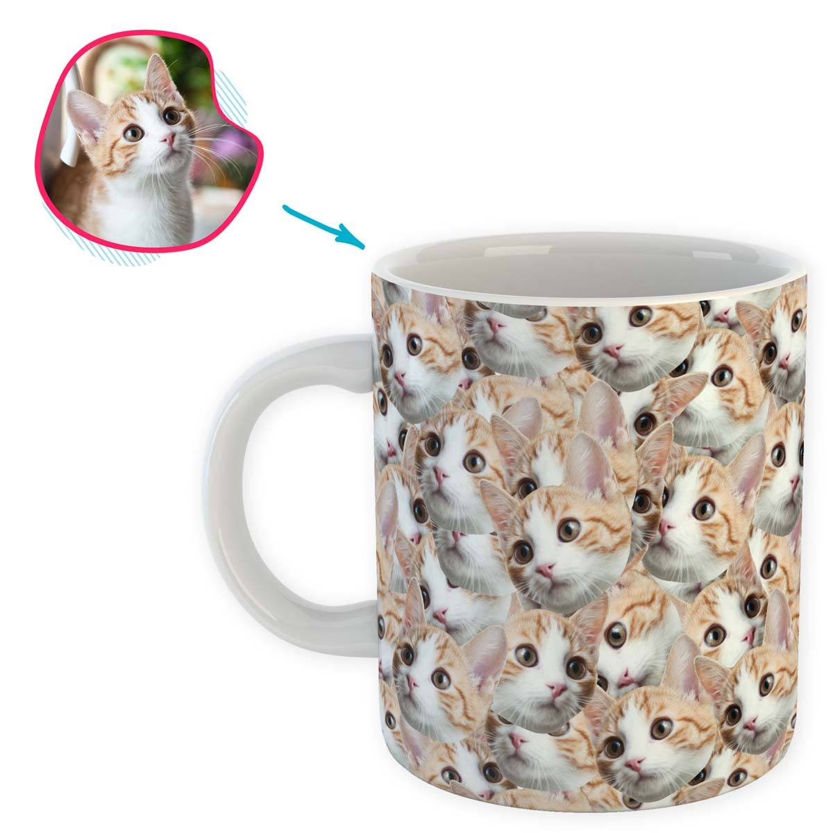 Cat Mash mug personalized with photo of face printed on it