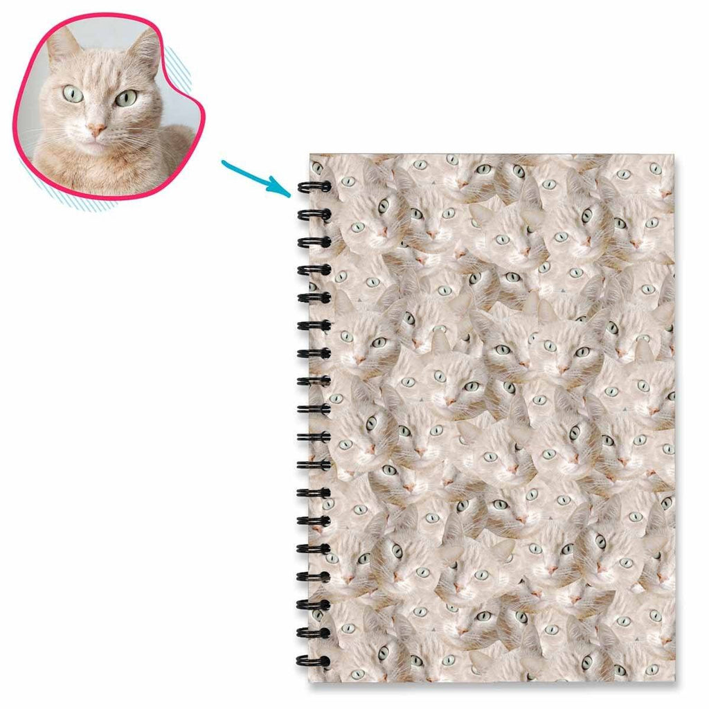Cat Mash Notebook personalized with photo of face printed on them