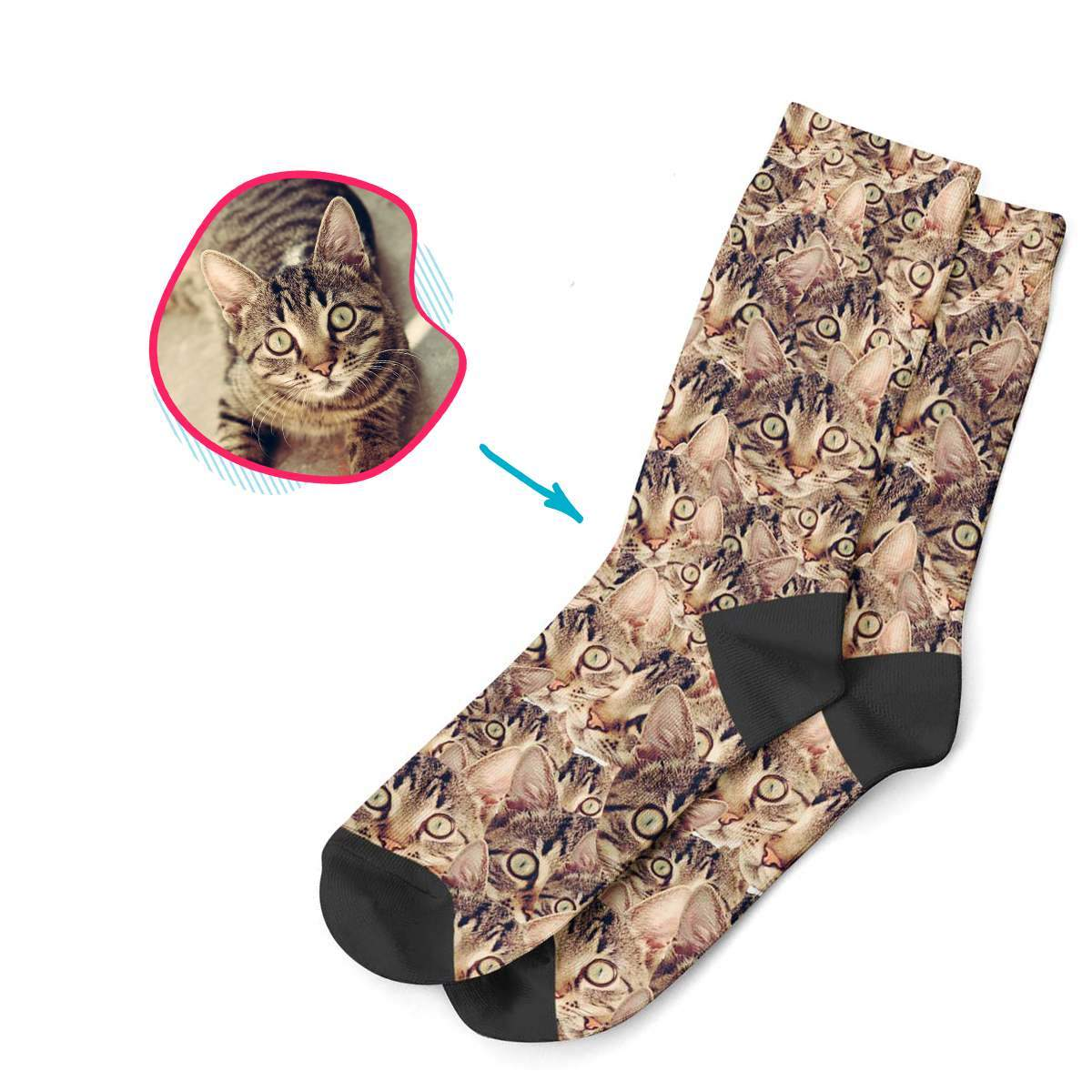 Cat Mash socks personalized with photo of face printed on them