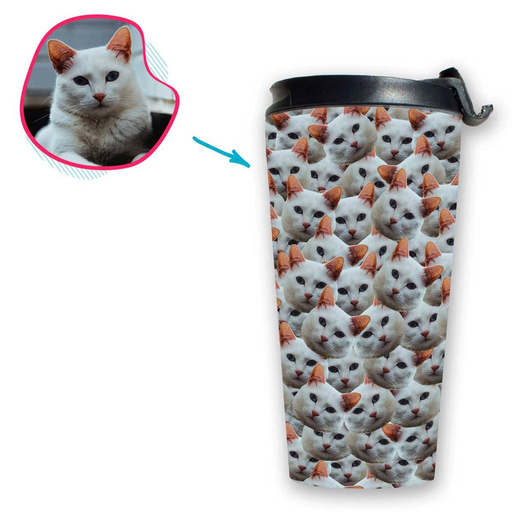 Cat Mash travel mug personalized with photo of face printed on it
