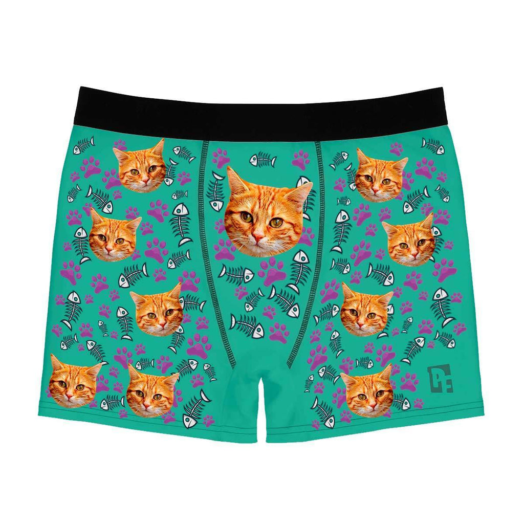 Mint Cat men's boxer briefs personalized with photo printed on them