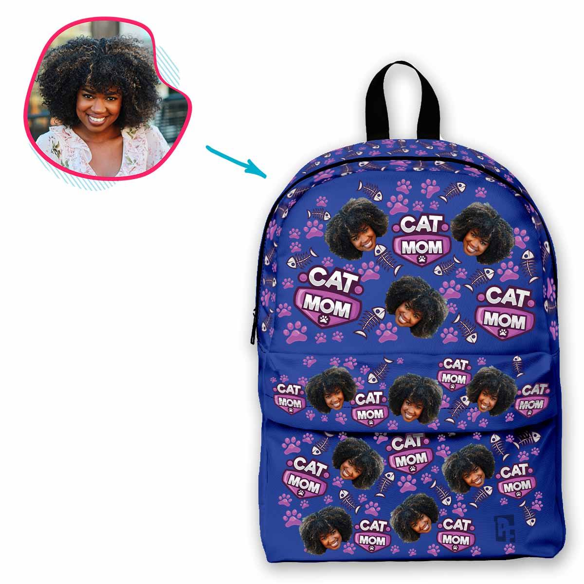 darkblue Cat Mom classic backpack personalized with photo of face printed on it