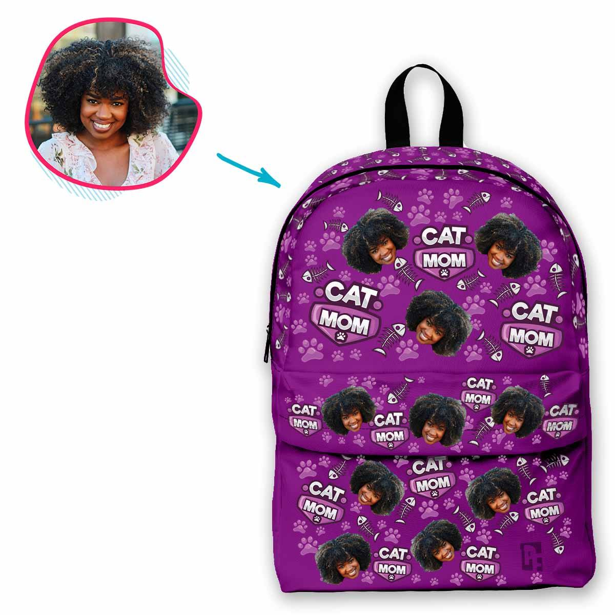 purple Cat Mom classic backpack personalized with photo of face printed on it