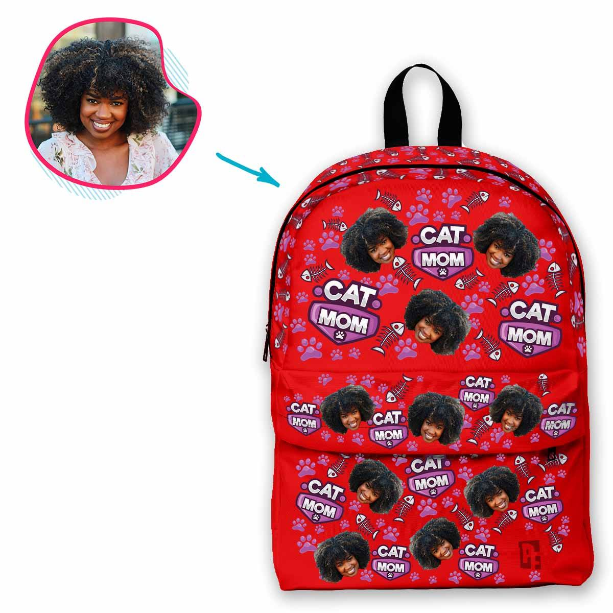 red Cat Mom classic backpack personalized with photo of face printed on it