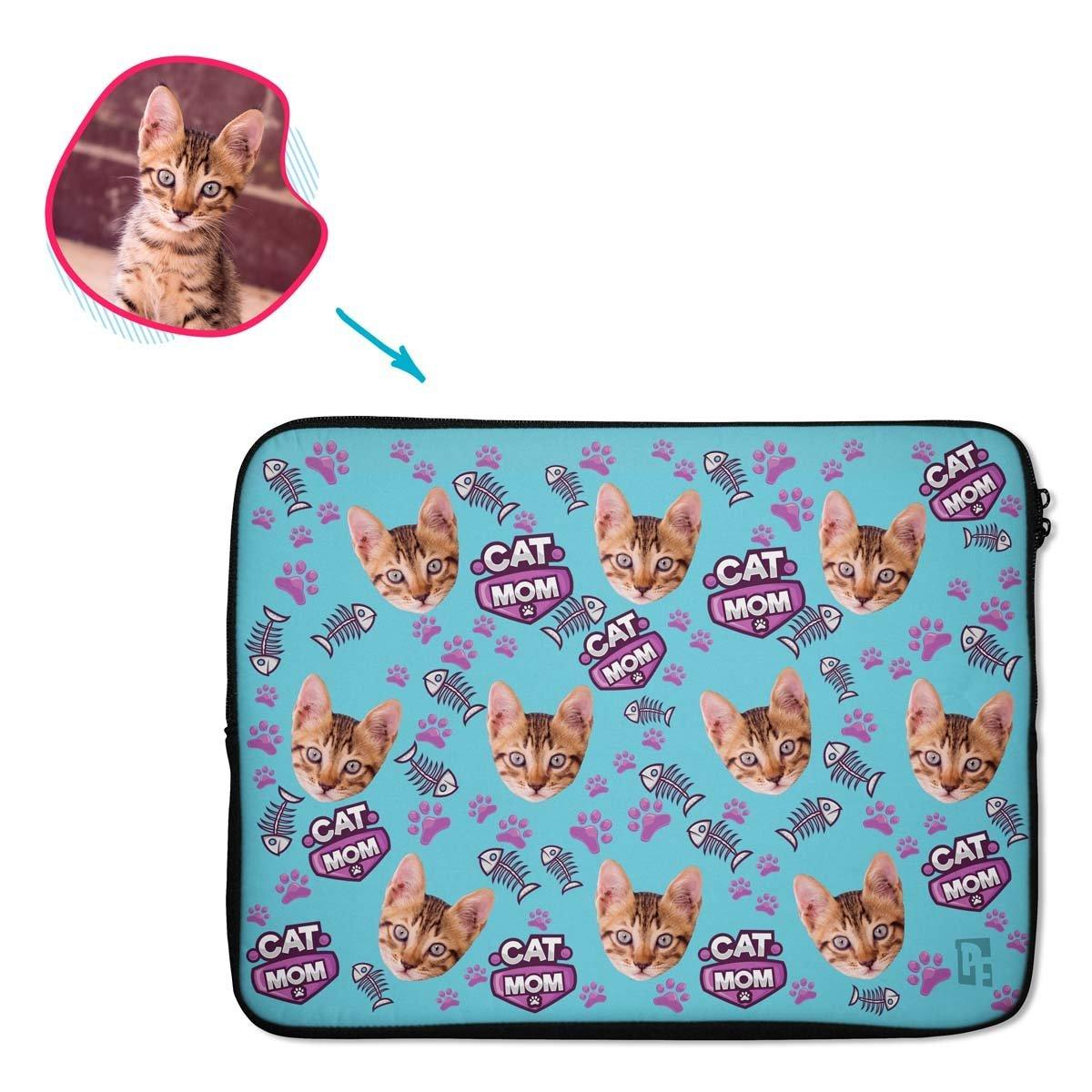 blue Cat Mom laptop sleeve personalized with photo of face printed on them