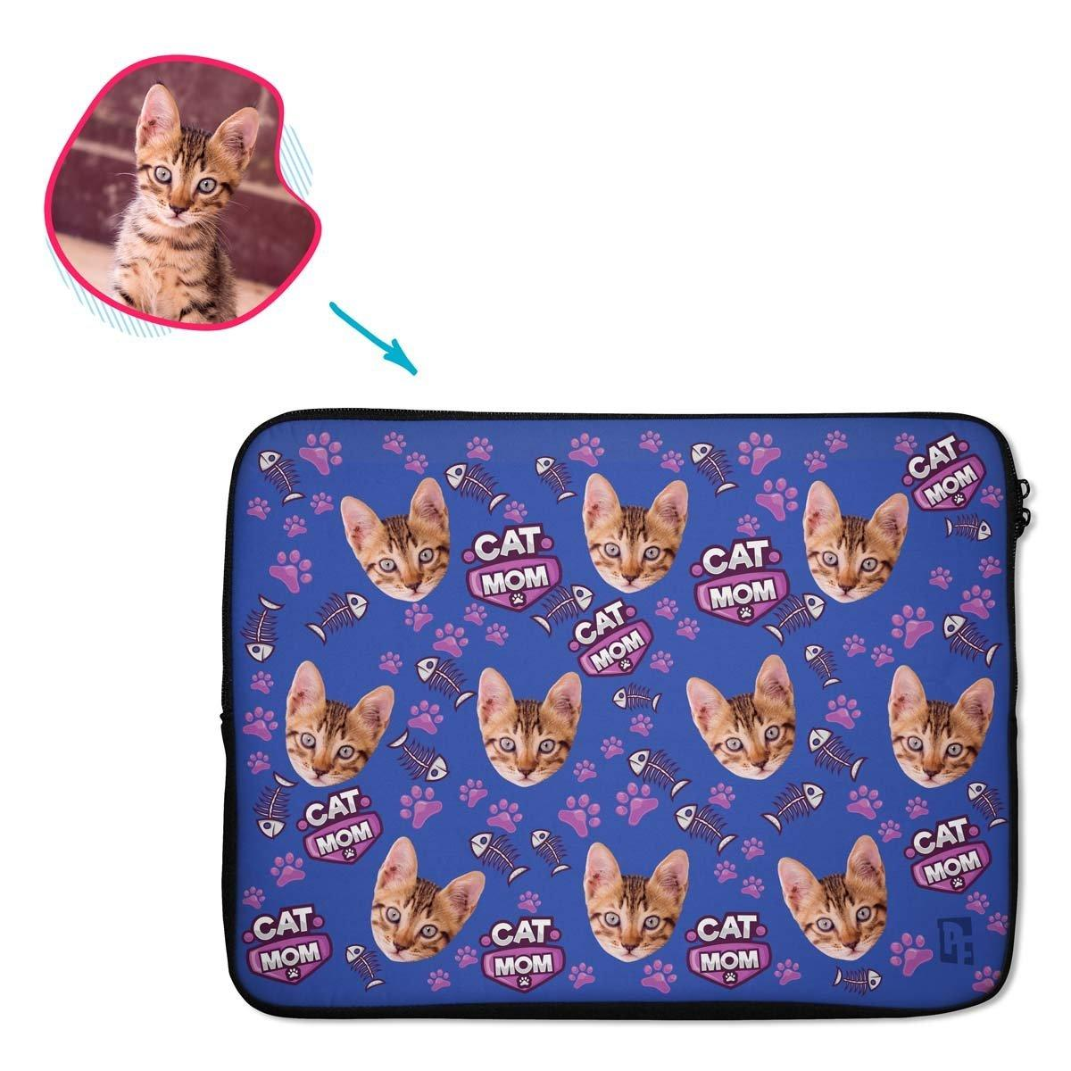 darkblue Cat Mom laptop sleeve personalized with photo of face printed on them