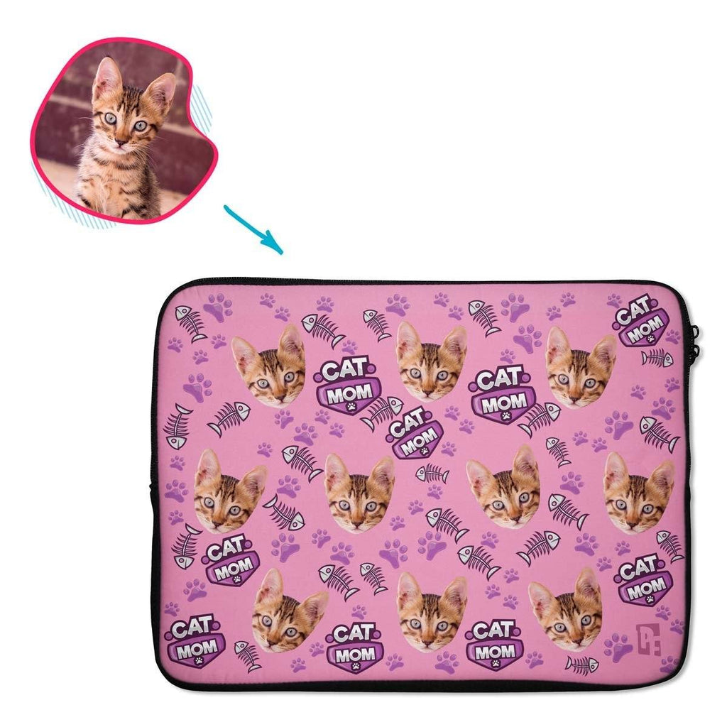 pink Cat Mom laptop sleeve personalized with photo of face printed on them