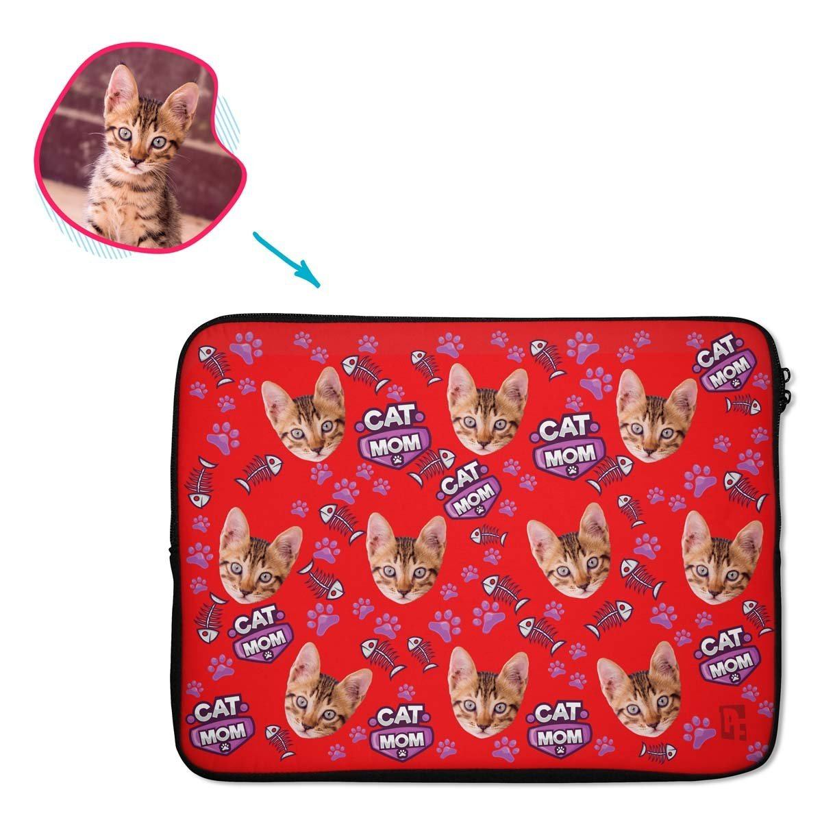 red Cat Mom laptop sleeve personalized with photo of face printed on them