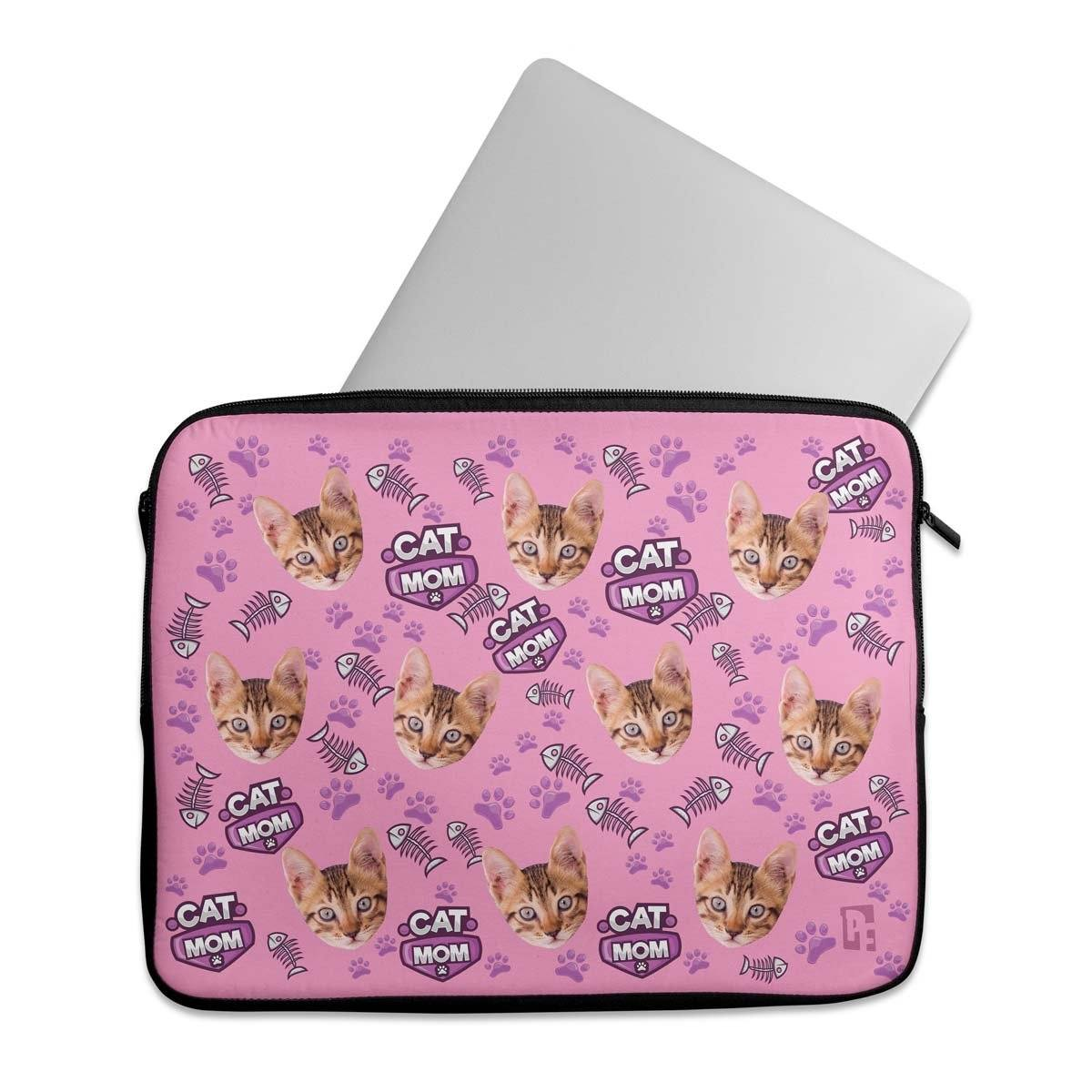 Cat Mom Personalized Laptop Sleeve