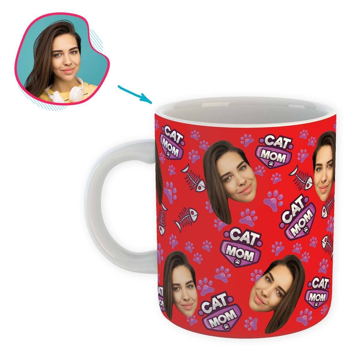 red Cat Mom mug personalized with photo of face printed on it
