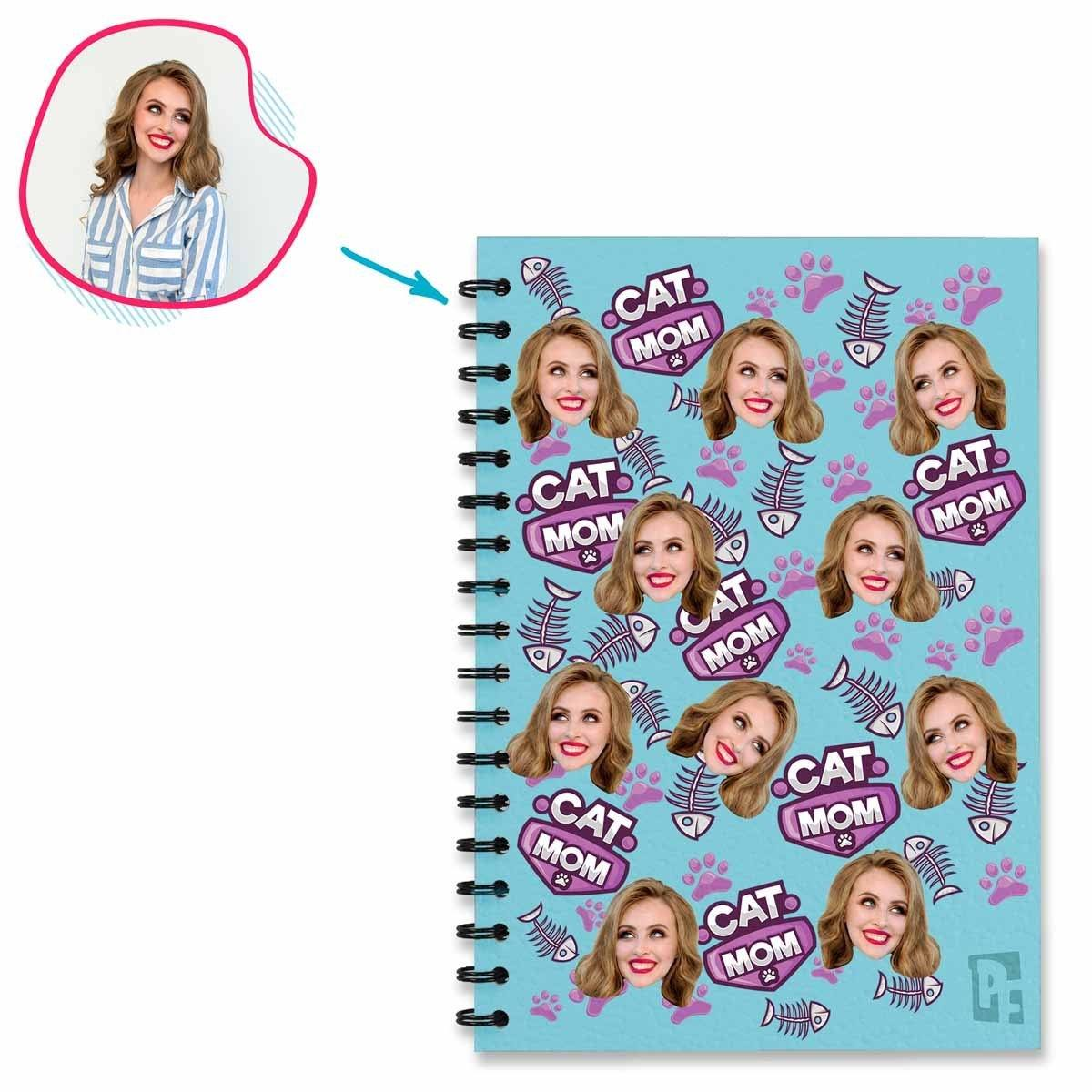 blue Cat Mom Notebook personalized with photo of face printed on them