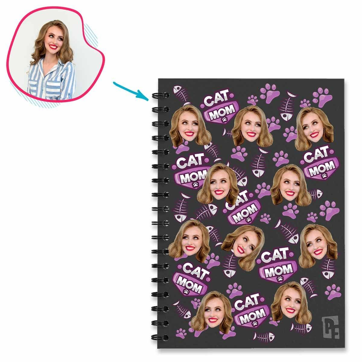 dark Cat Mom Notebook personalized with photo of face printed on them