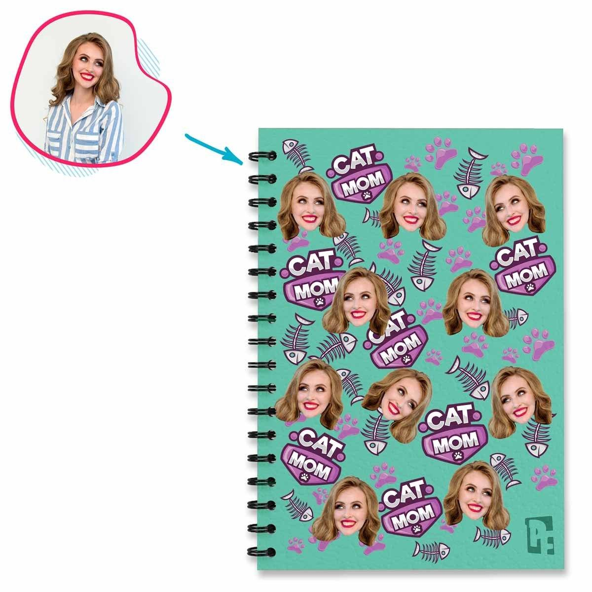 Cat Mom Personalized Notebook