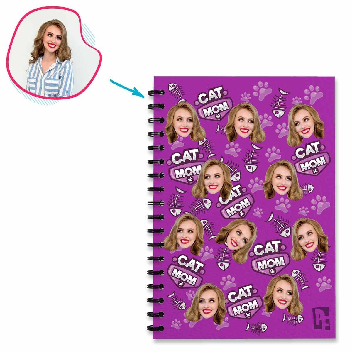 purple Cat Mom Notebook personalized with photo of face printed on them