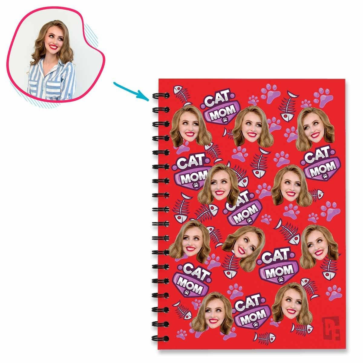 red Cat Mom Notebook personalized with photo of face printed on them