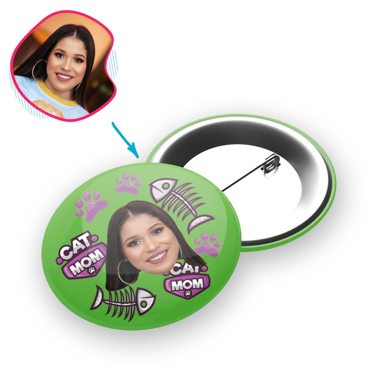 green Cat Mom pin personalized with photo of face printed on it