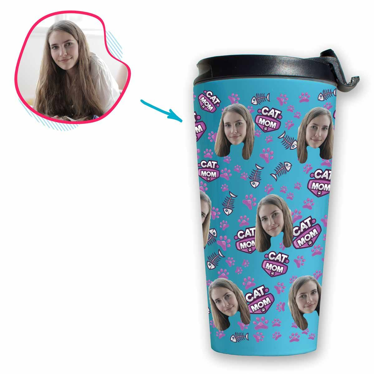 blue Cat Mom travel mug personalized with photo of face printed on it
