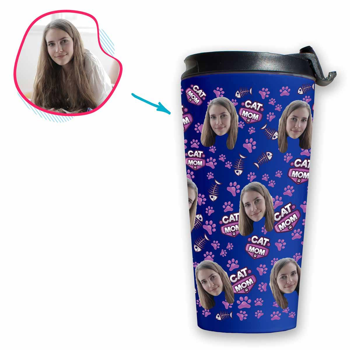 darkblue Cat Mom travel mug personalized with photo of face printed on it