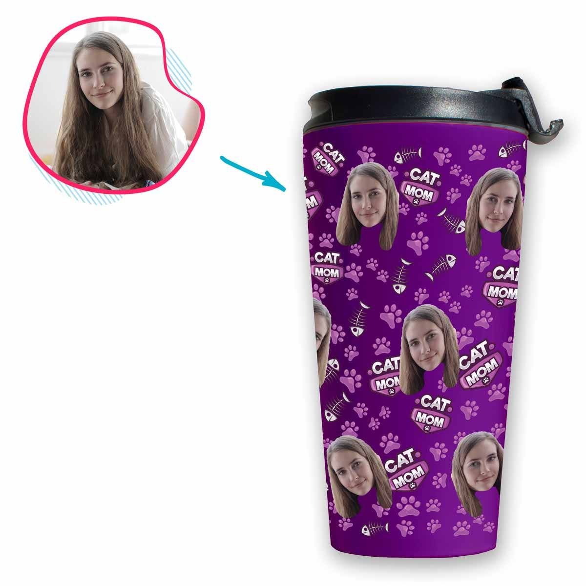 purple Cat Mom travel mug personalized with photo of face printed on it