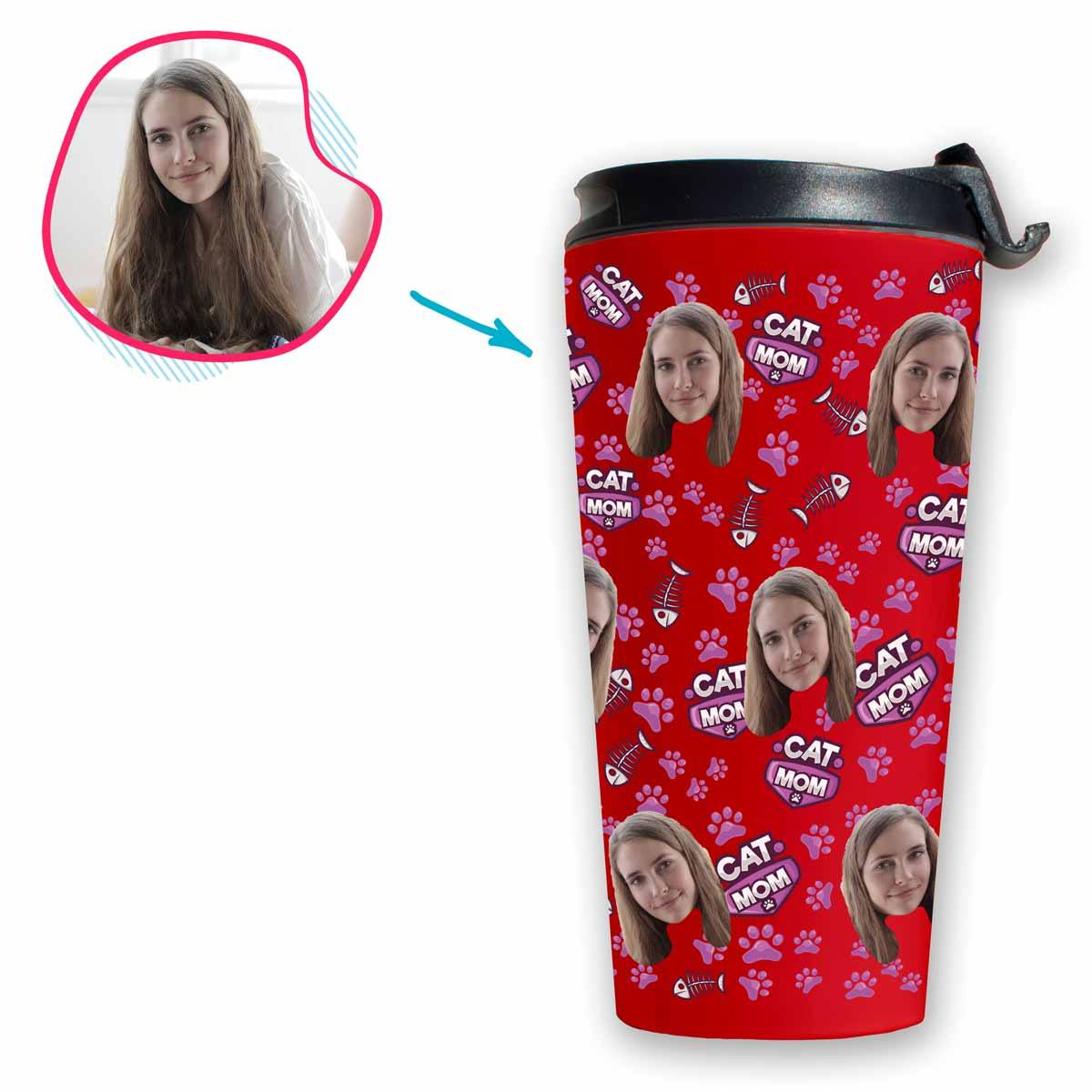 red Cat Mom travel mug personalized with photo of face printed on it