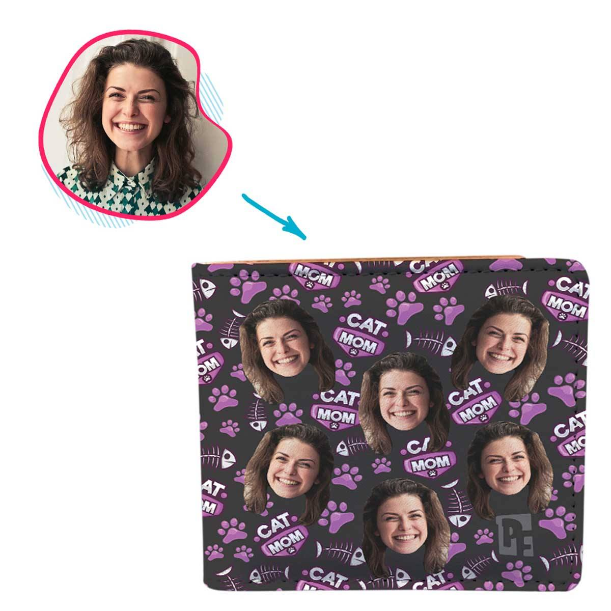 dark Cat Mom wallet personalized with photo of face printed on it