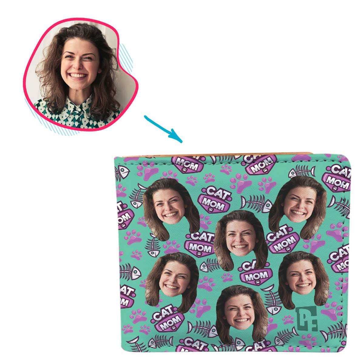 mint Cat Mom wallet personalized with photo of face printed on it