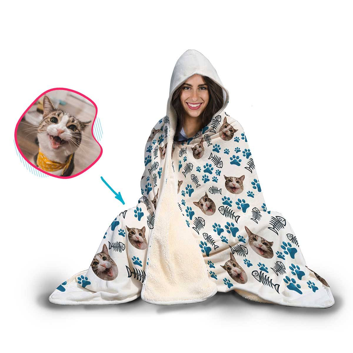 Cat Personalized Hooded Blanket