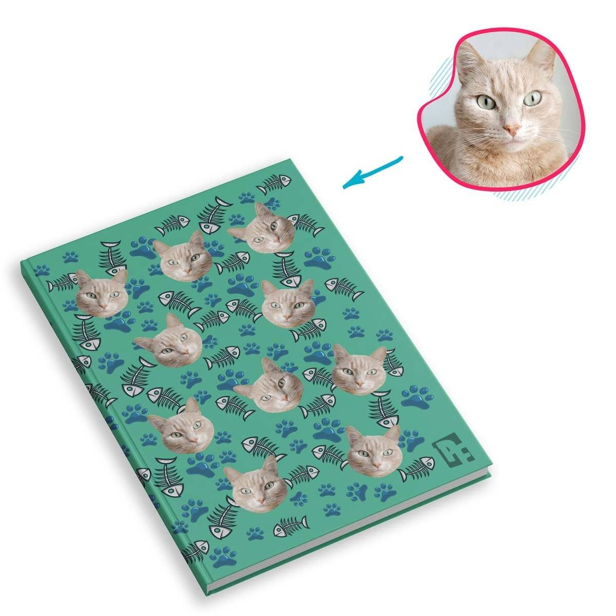 mint Cat Notebook personalized with photo of face printed on them