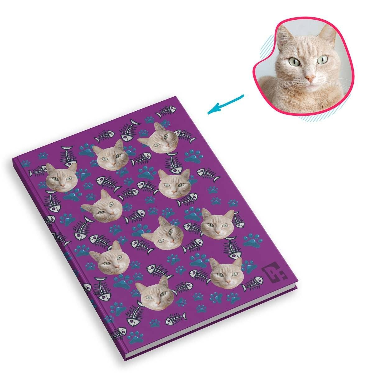 purple Cat Notebook personalized with photo of face printed on them