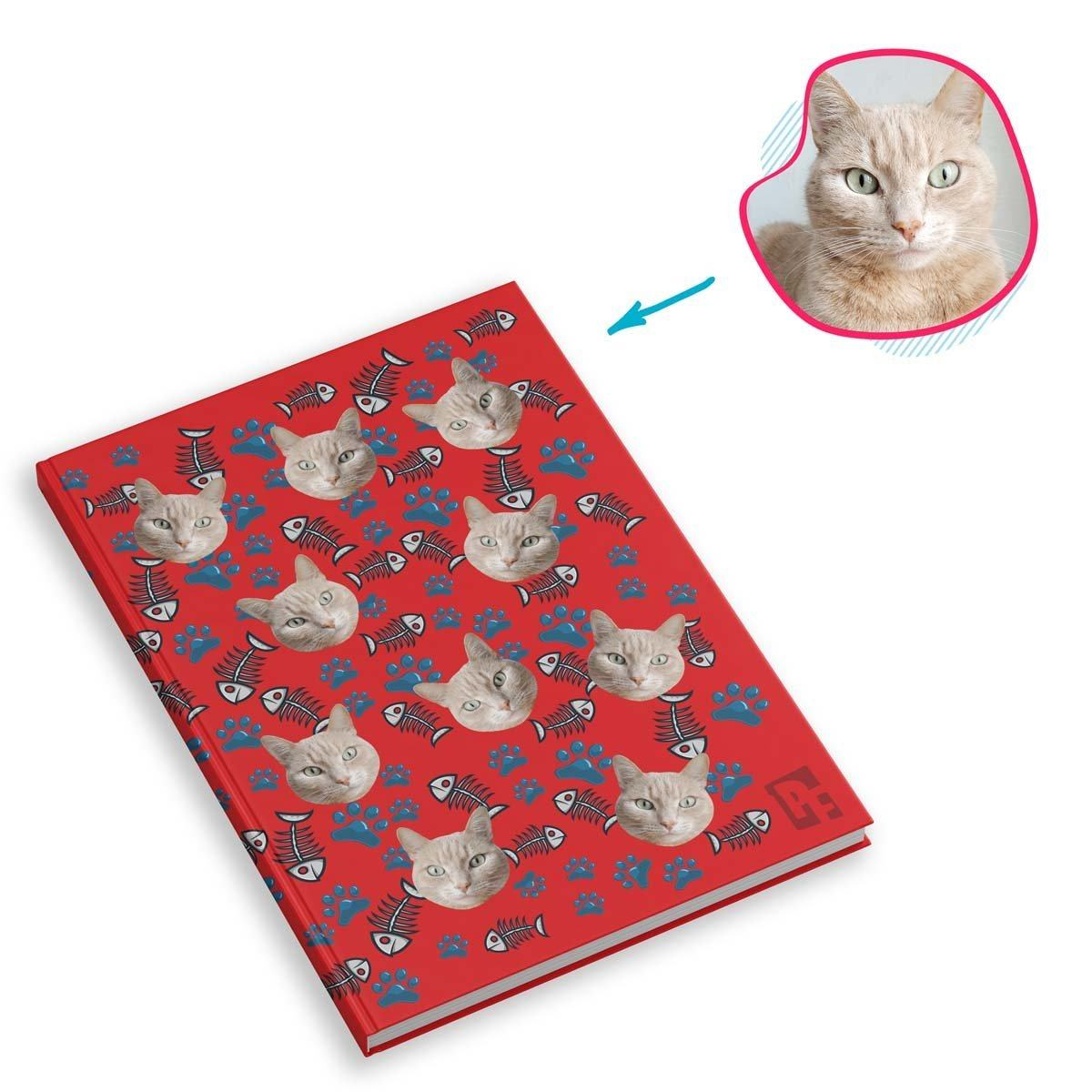 red Cat Notebook personalized with photo of face printed on them
