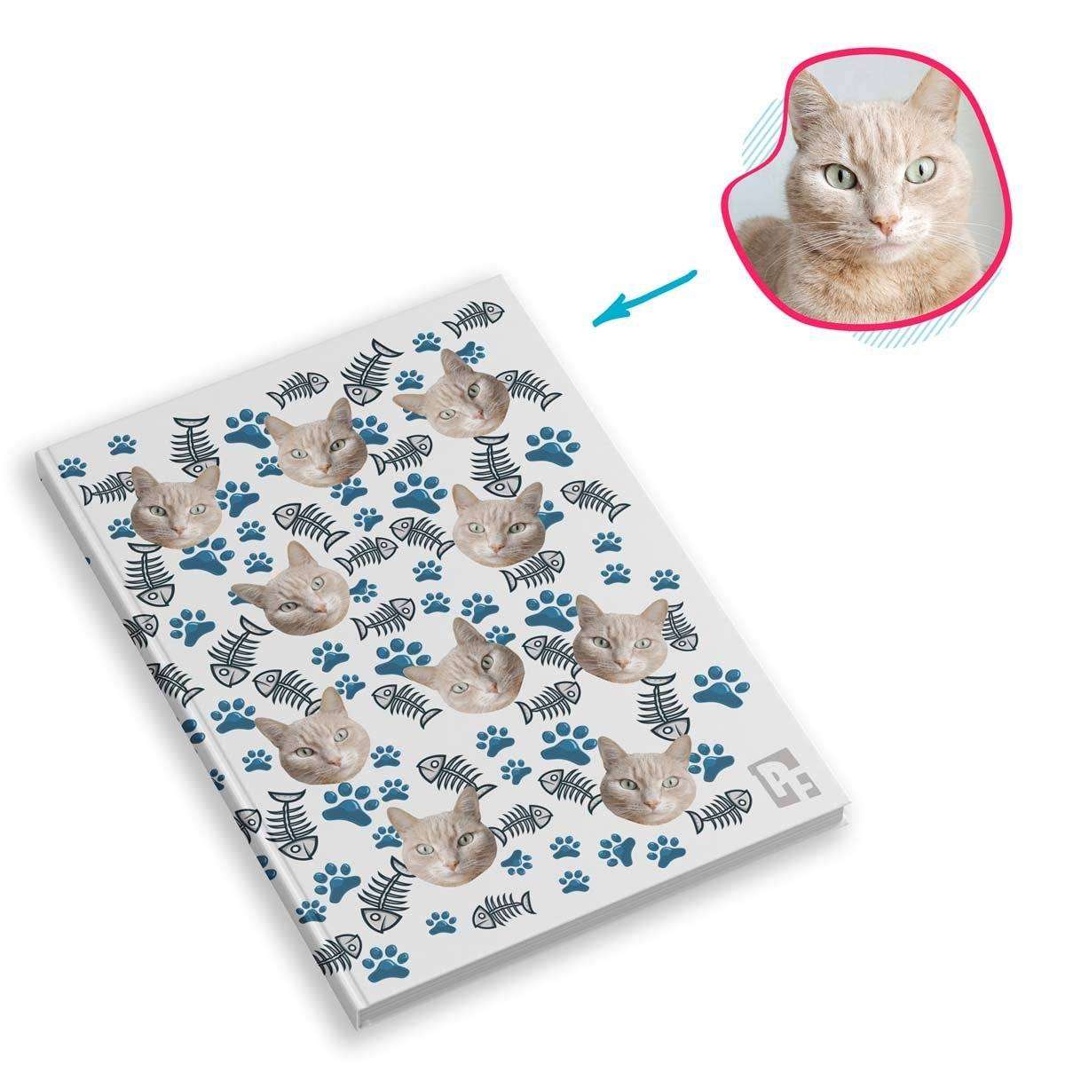 white Cat Notebook personalized with photo of face printed on them