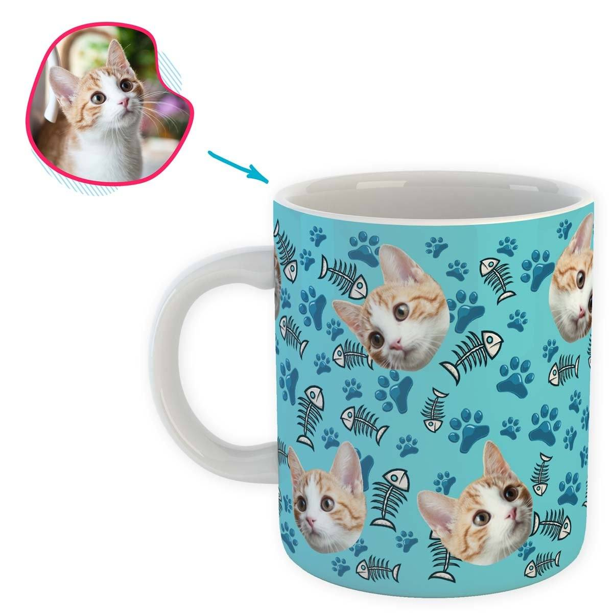blue Cat mug personalized with photo of face printed on it