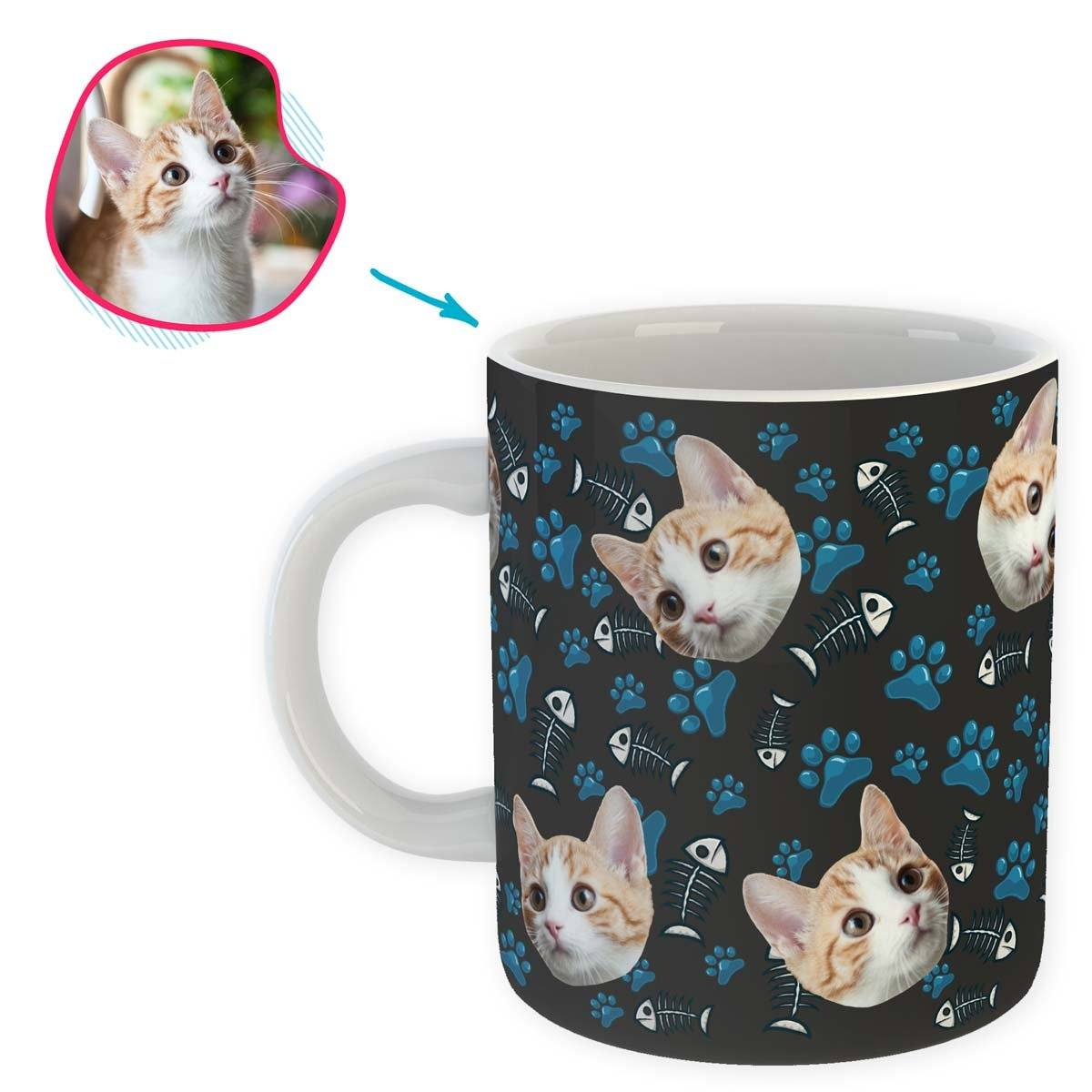 dark Cat mug personalized with photo of face printed on it
