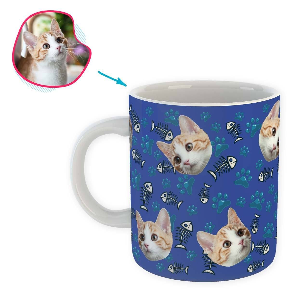 darkblue Cat mug personalized with photo of face printed on it