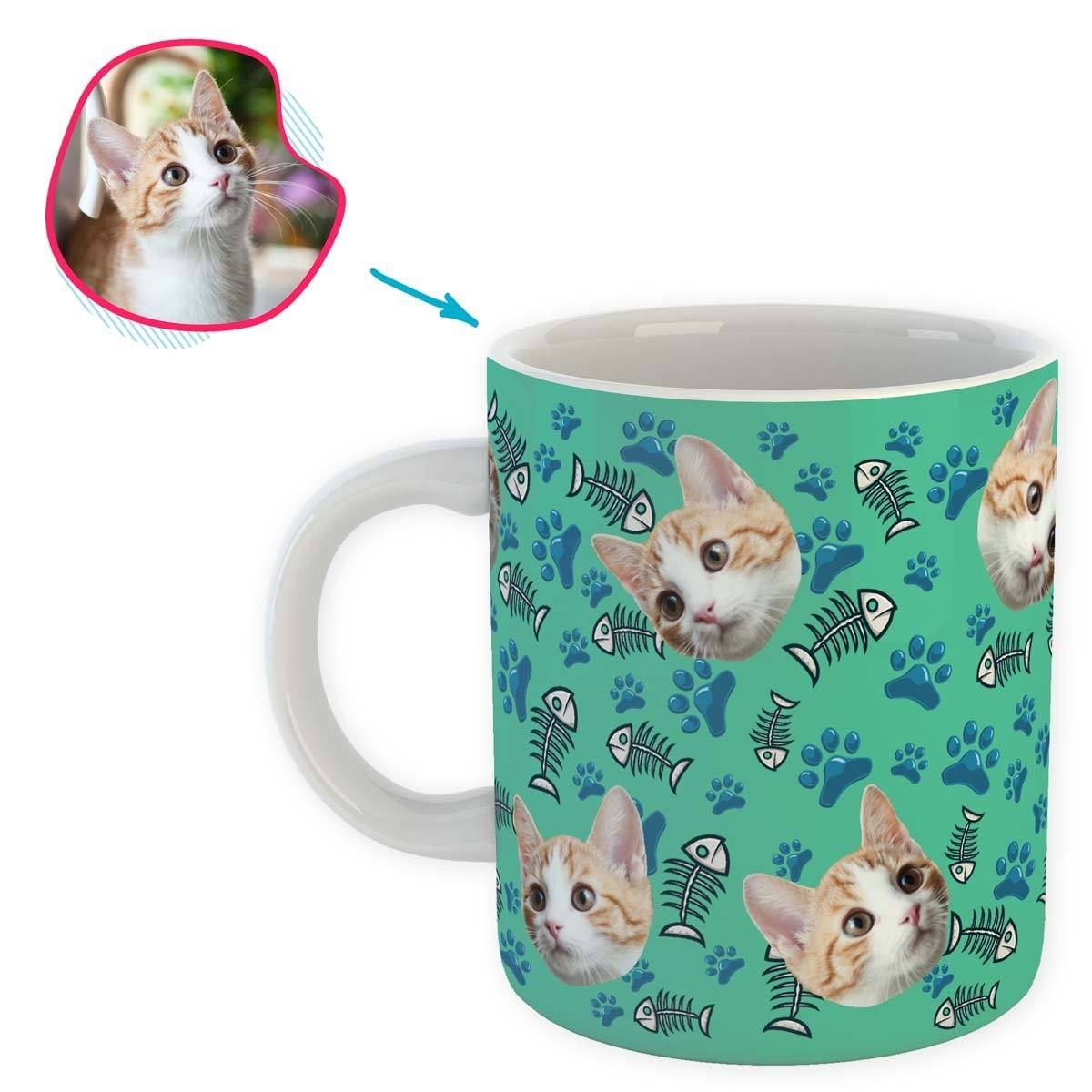 mint Cat mug personalized with photo of face printed on it