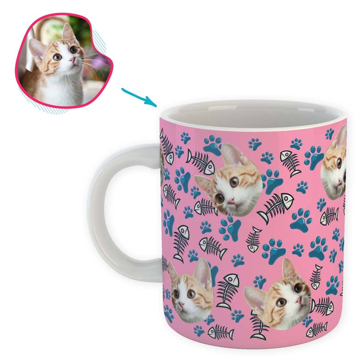 pink Cat mug personalized with photo of face printed on it