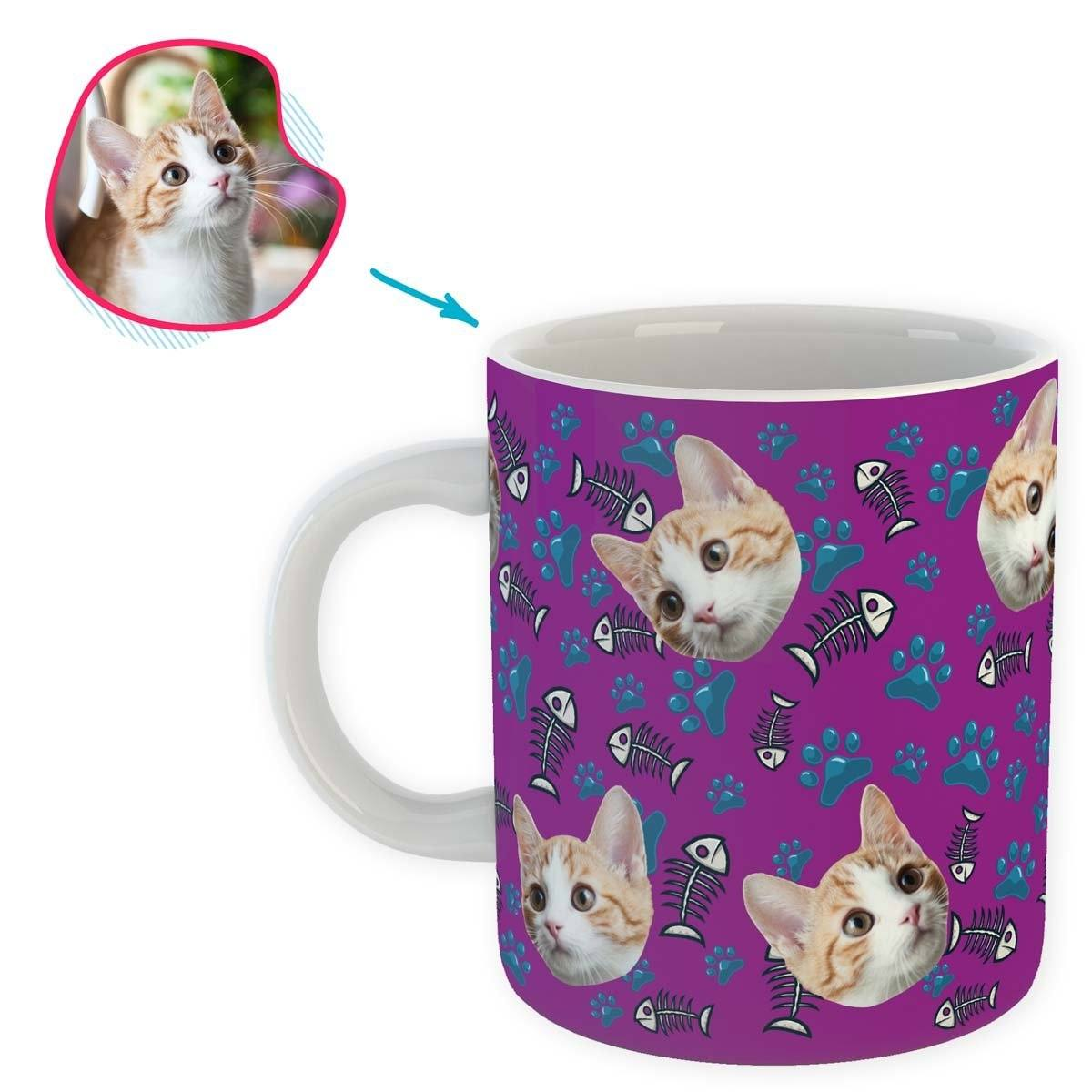 purple Cat mug personalized with photo of face printed on it