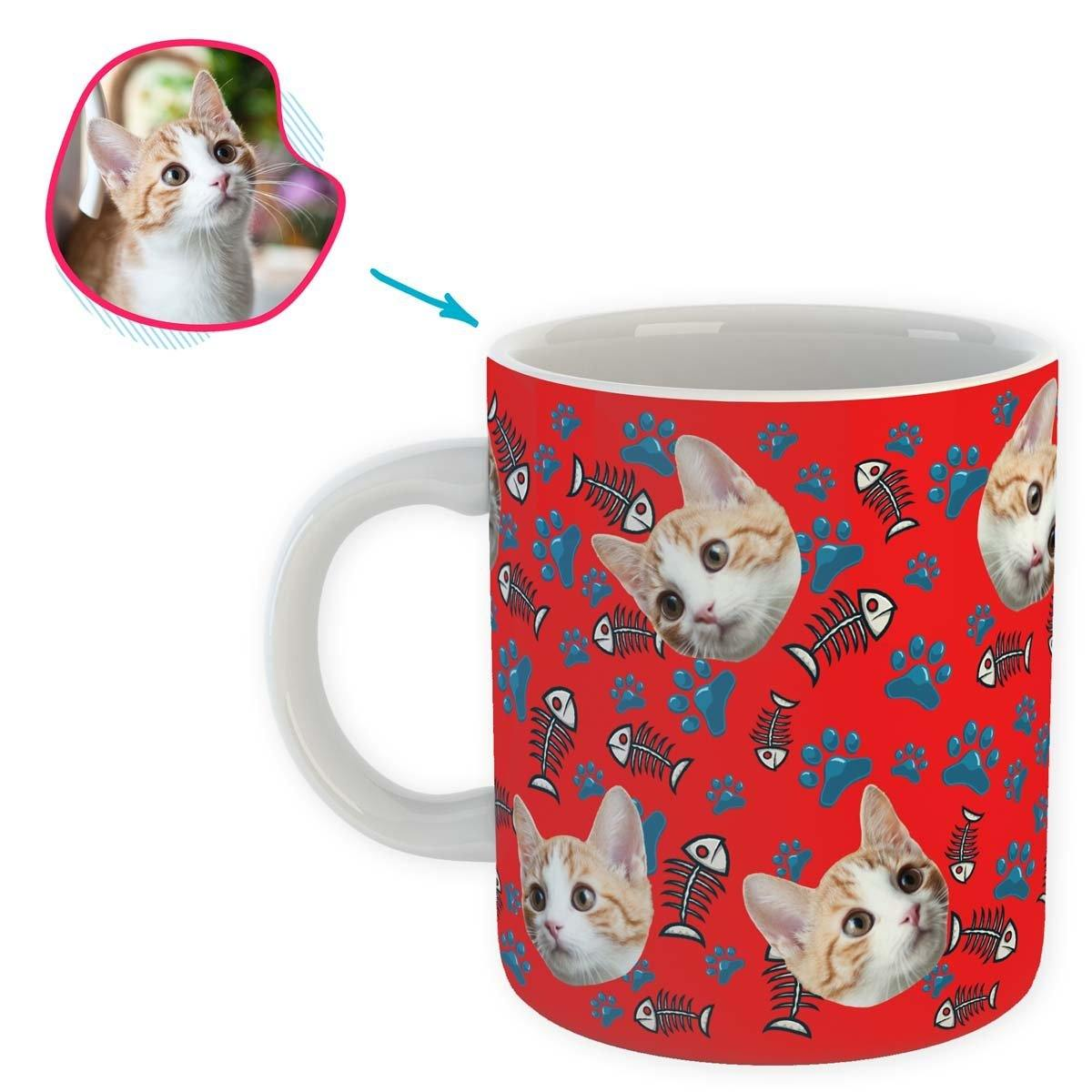 red Cat mug personalized with photo of face printed on it