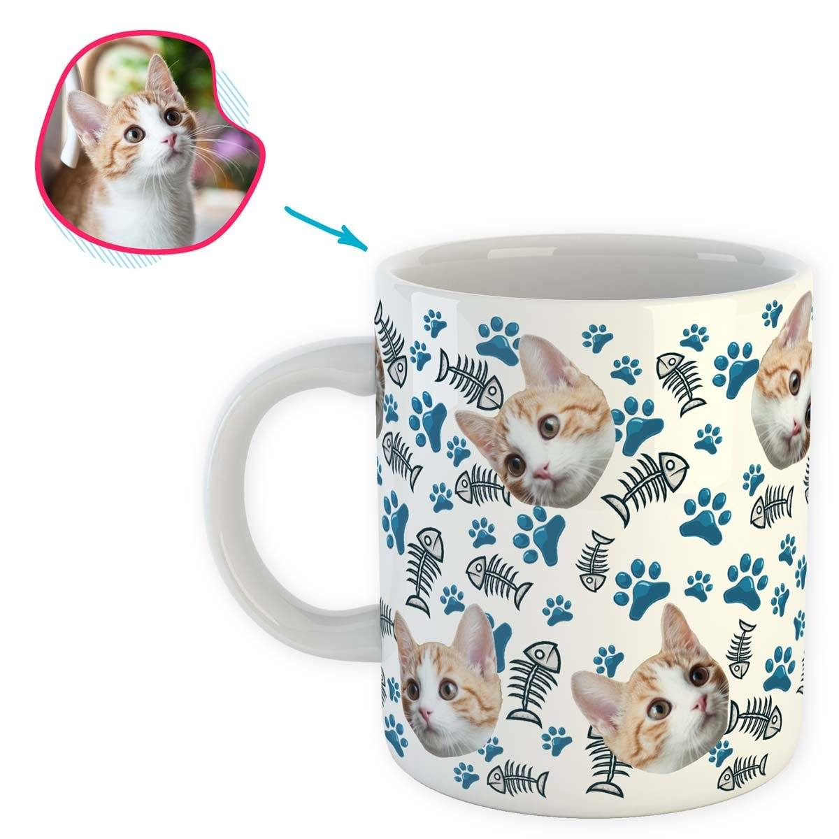 white Cat mug personalized with photo of face printed on it