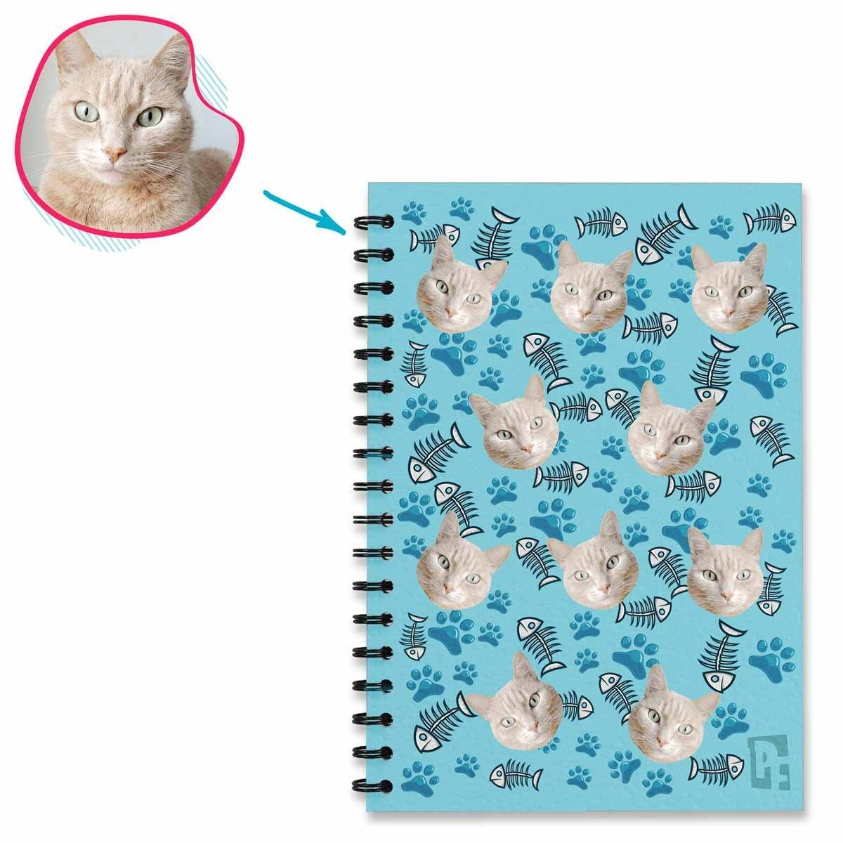blue Cat Notebook personalized with photo of face printed on them