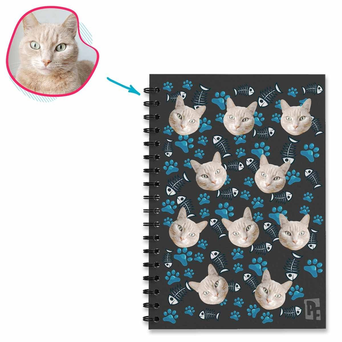 dark Cat Notebook personalized with photo of face printed on them