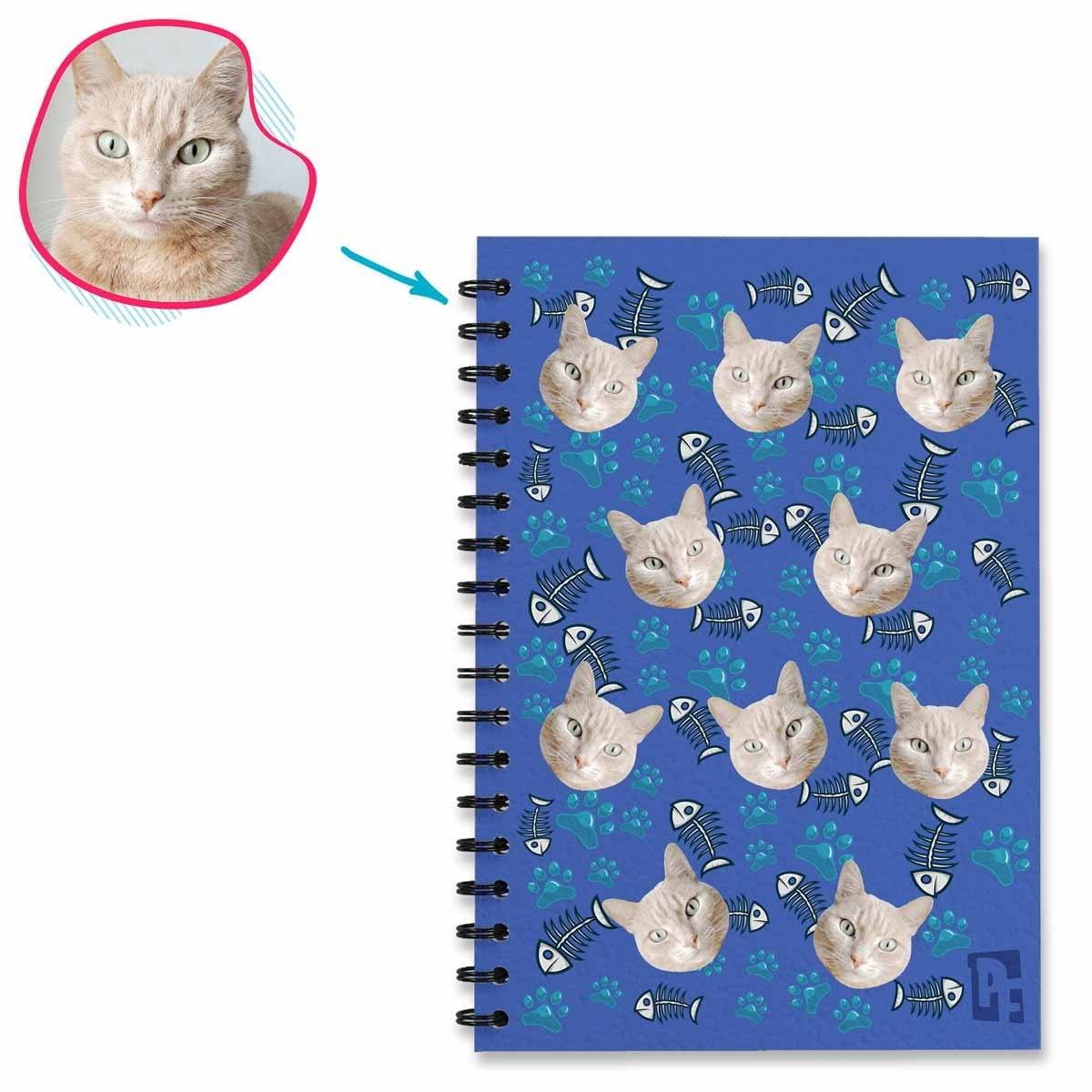 darkblue Cat Notebook personalized with photo of face printed on them