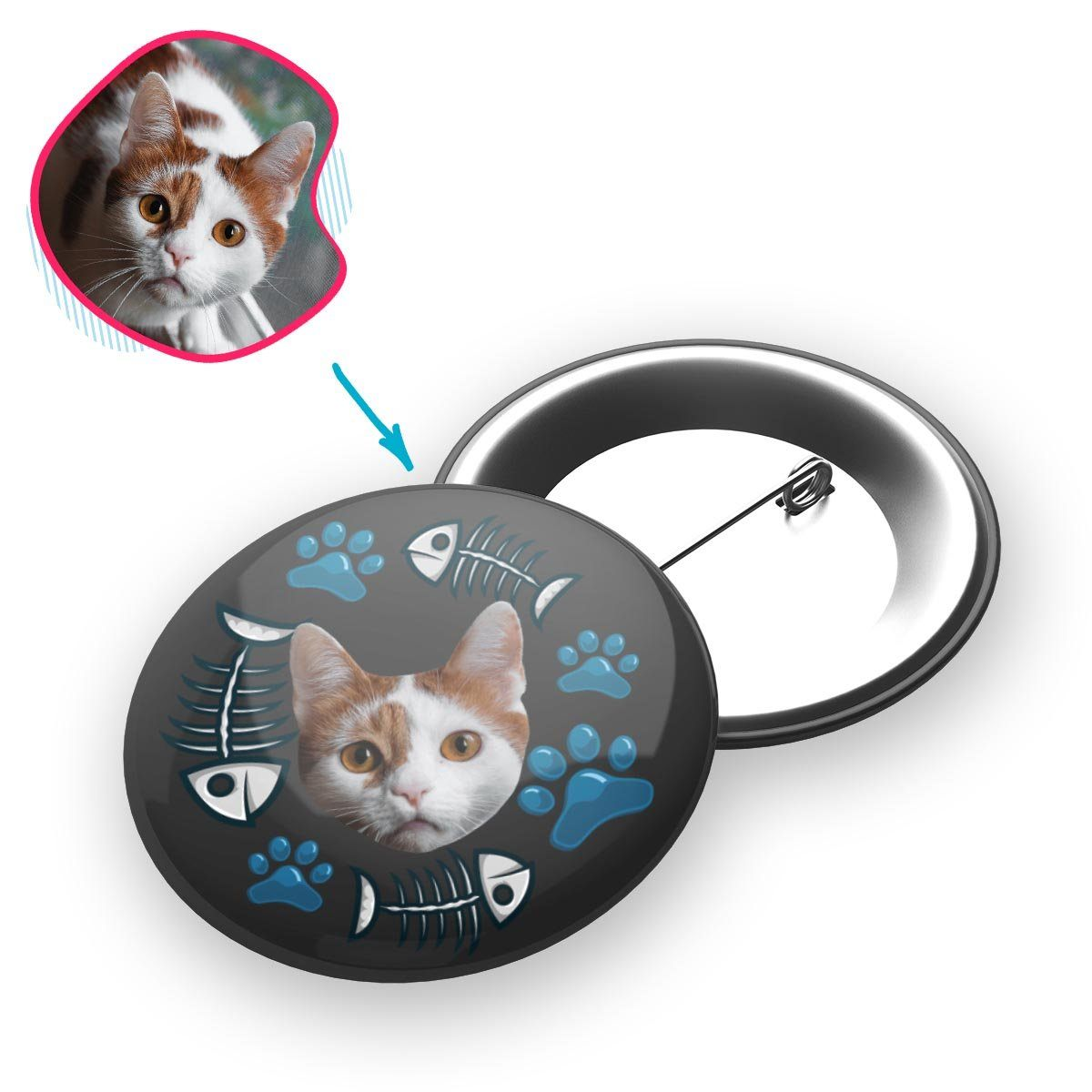 dark Cat pin personalized with photo of face printed on it