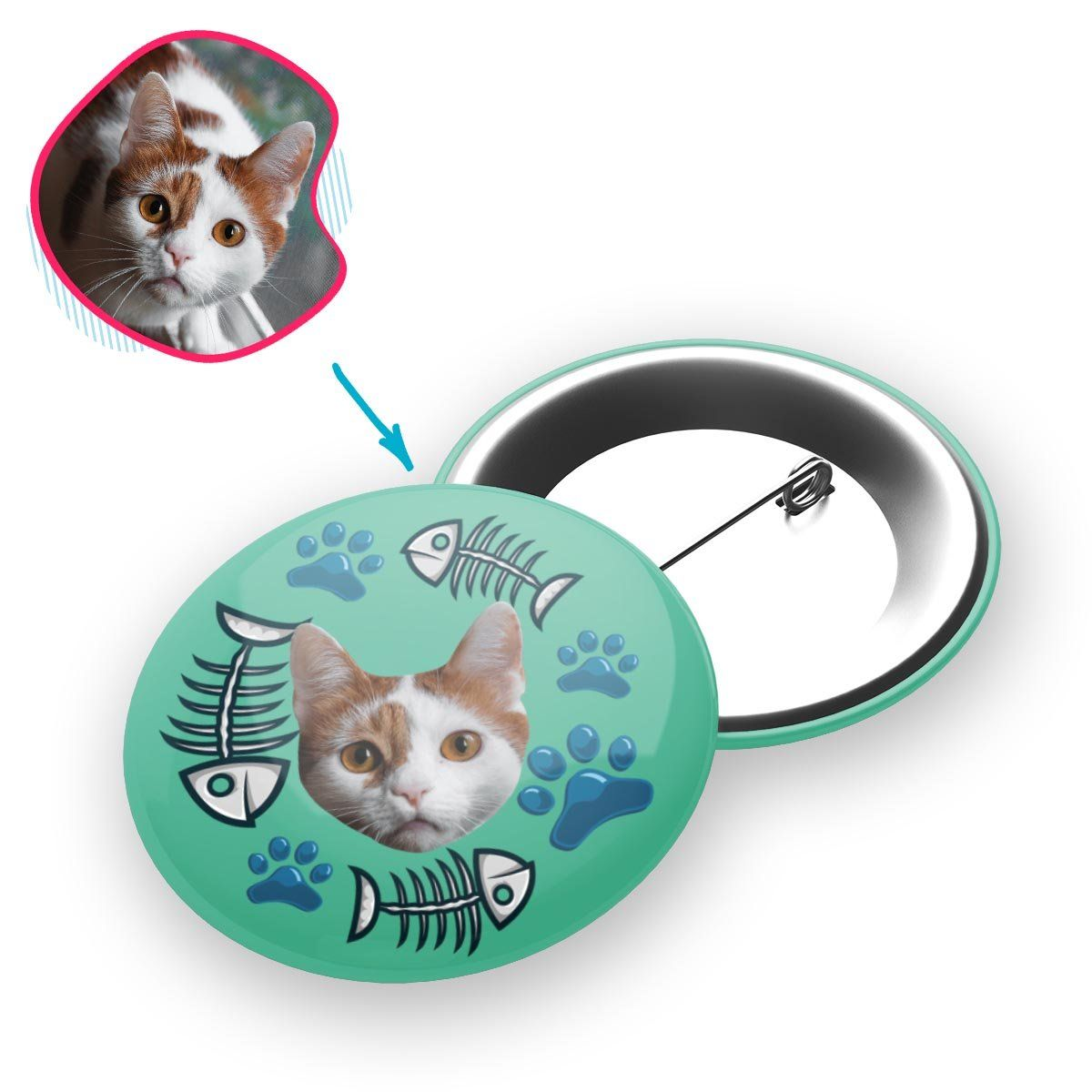 mint Cat pin personalized with photo of face printed on it