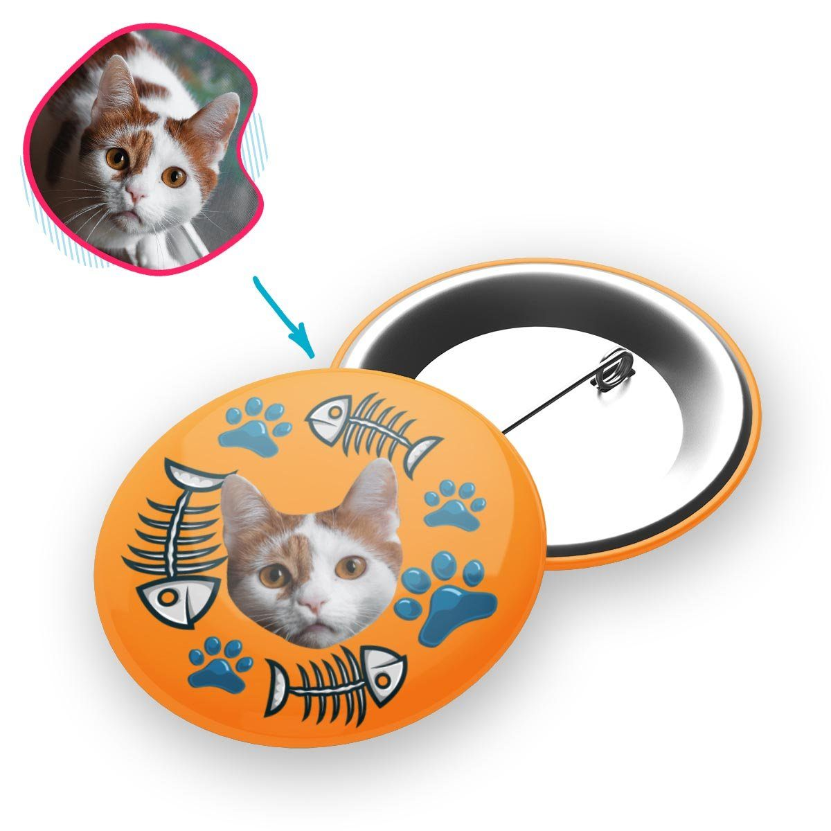orange Cat pin personalized with photo of face printed on it