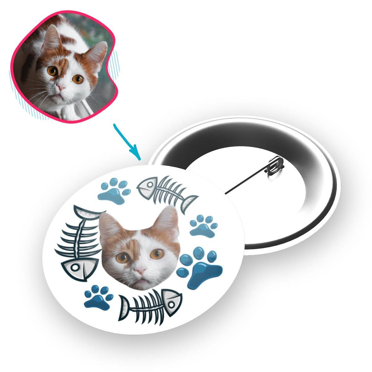 white Cat pin personalized with photo of face printed on it