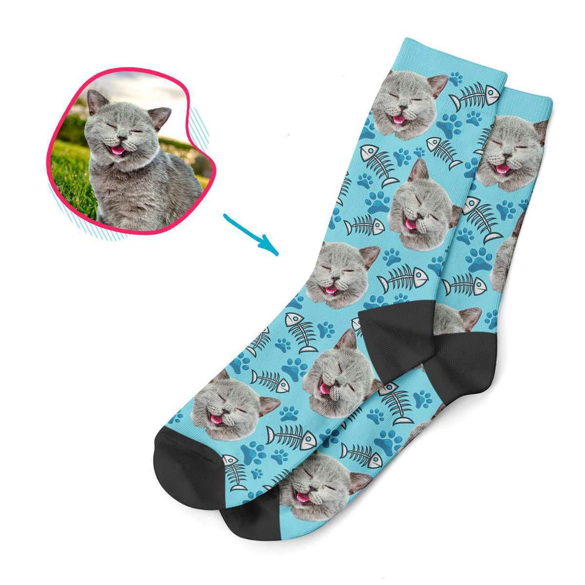 blue Cat socks personalized with photo of face printed on them